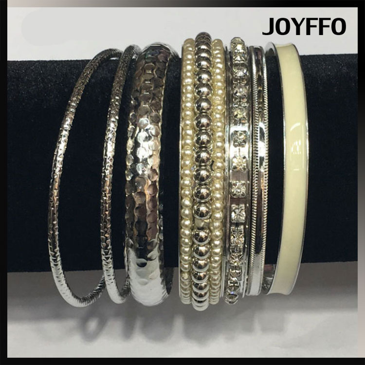 Patterned Greek Style Hammered Metal Bangles Set