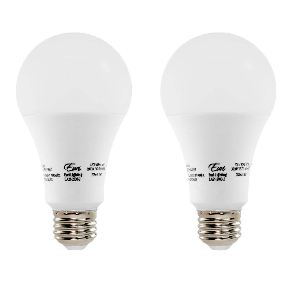 Euri Lighting EA21-2100-2 LED A21 Bulb, Econ Line, Soft White 3000K, Non-Dim, 14W (100W Equivalent), 1521 lm, 150 Degree Beam Angle, Medium Base (E26), UL-Listed (Pack of 2)