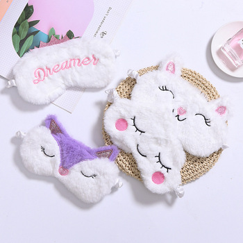 J099 Fuzzy Sleeping Traveling Patch Blinder Funny Vogue Party Costume eye Mask