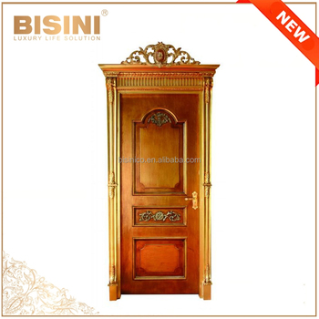 French Classic Style Swing Single Interior Door With Golden Frame/Antique  Solid Wood Hand Carved