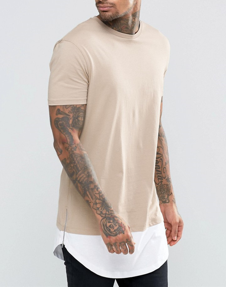 Custom Cotton Tee Super Longline T-Shirt With Curved Hem And Side Zips In Beige