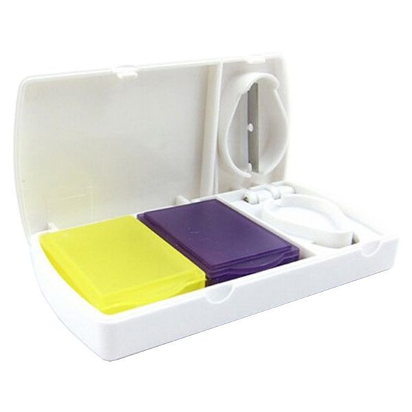 Hot Selling Square Pattern Portable Pill Organizer Pill Box and Pill Cutter