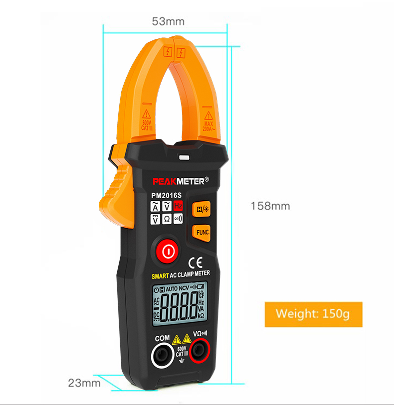 6000 Counts Smart Mini Digital AC Clamp Meter with Clamp Frequency Measurement PM2016S