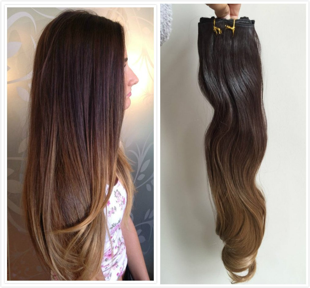 Buy 22 Inches Straight Full Head Ombre Dip Dyed Clip In Hair