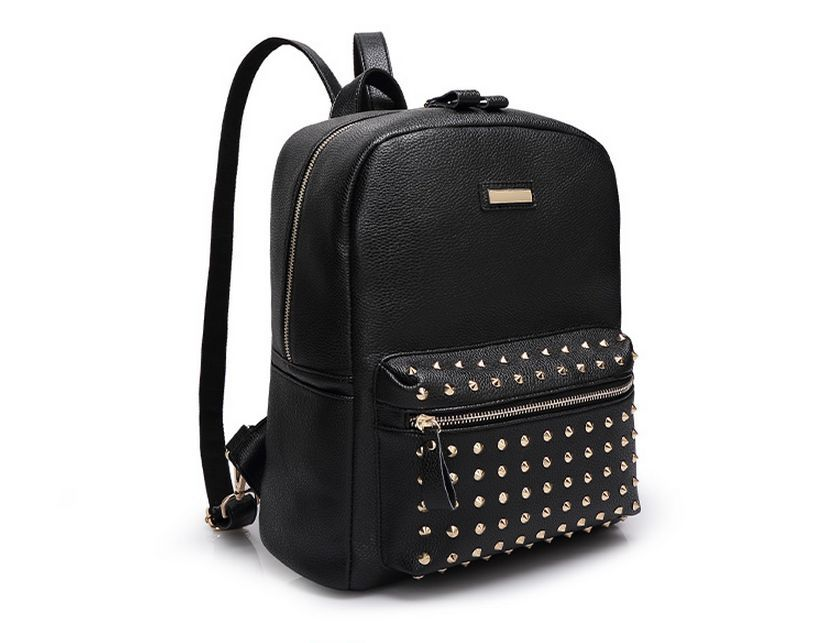 41f5c248b8a8 Get Quotations · New PU leather 4 Colors women s rivet backpack fashion  elegant girls Double shoulder travel bag brand