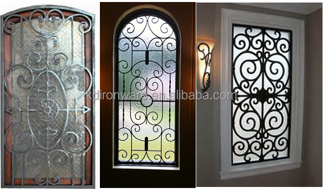Top selling decorative swing open wrought iron window for Iron window design house