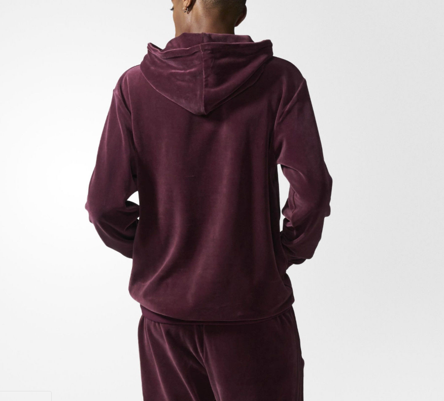Custom wholesale Burgundy Fitted Plain Velour Tracksuit mens