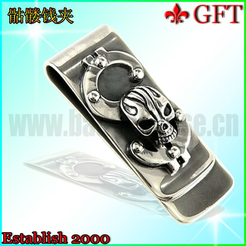 Custom design antique silver skull metal money clip