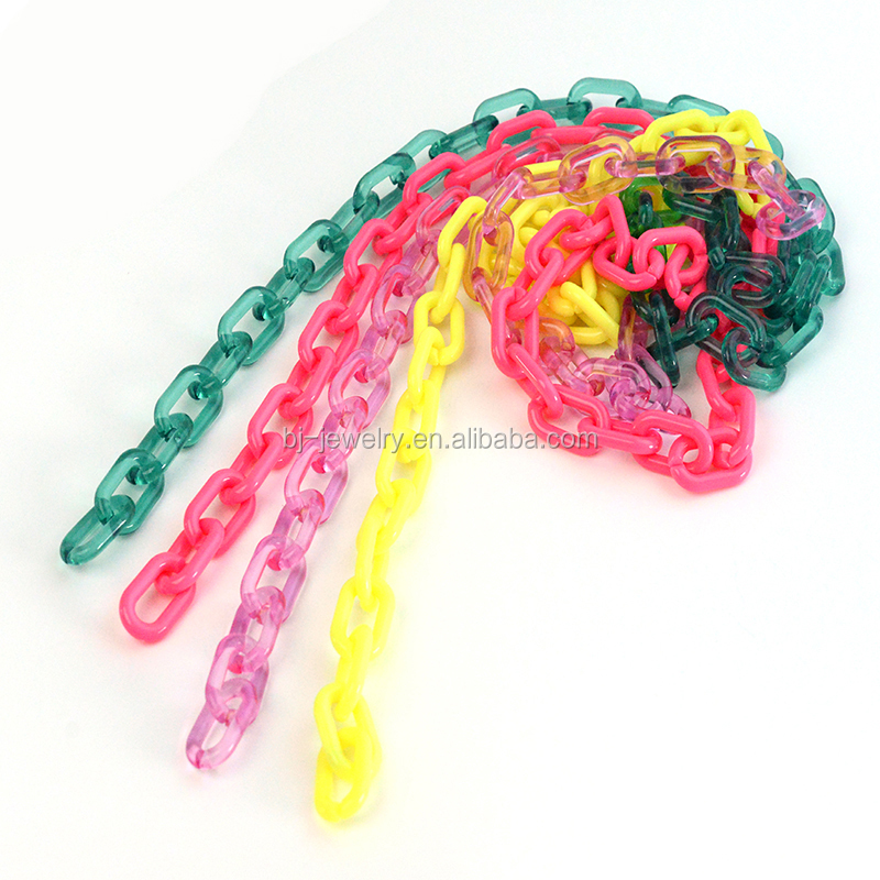 Multi Color Leopard Acrylic Plastic Link Chain Row Chain Accessory Women Bag Chain