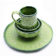hand-painted Deer bird Wildlife Green modern living porcelain dinnerware set