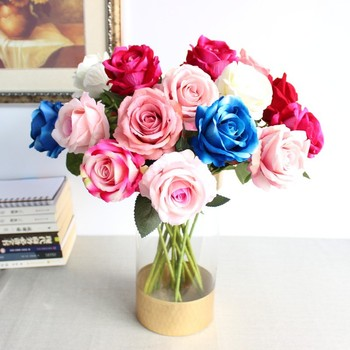 Single Velvet Rose high-end simulation flower wholesale silk flower decoration lover rose hot sale