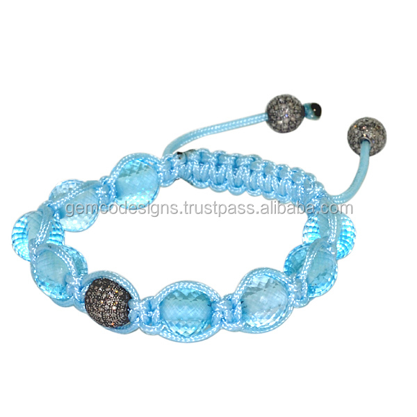 faceted aquamarine gemstone beaded bracelet, 925 sterling silver pave diamond beads macrame shamballa bracelet silver jewelry