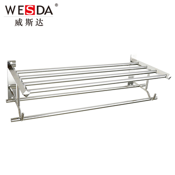 Wesda Wall Mounted Stainless Steel Bathroom Shelf Towel Rack A095