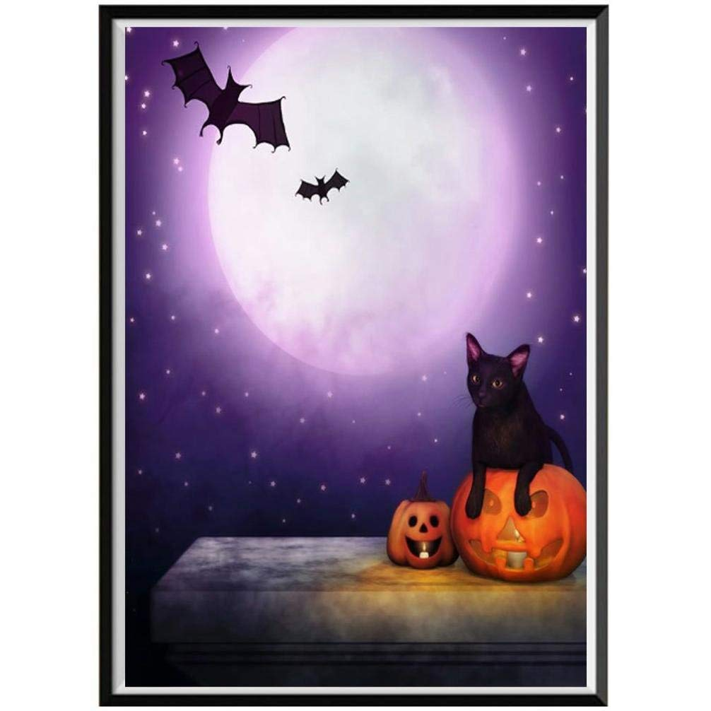 Franterd Lovely Animal - Halloween Bat, DIY 5D Diamond Painting Kit, Cross Stitch Craft Kits Rhinestone Embroidery Wall Stickers Pasted Picture Drawing for Living Room Craft Home Wall Decor