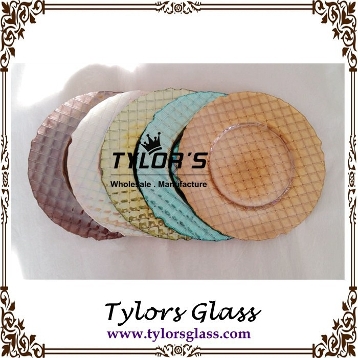 Luster Gold Cross Wedding Glass Plates Chargers By Tylors Glass