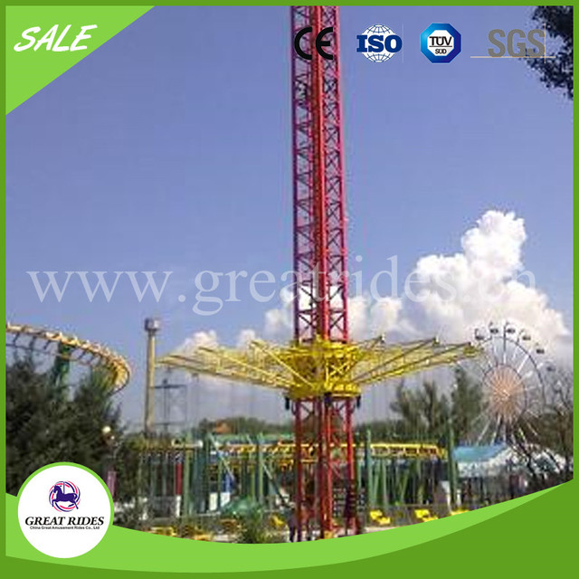 Hot selling carnival games rotary free fall flying tower rides for adults