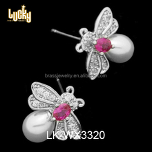 Wholesale super quality jewelry casual pearl CZ micro pave earring with pink stone
