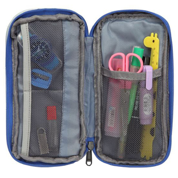 Large Capacity Pen Pouch Holder Student Pencil Case with Two Zippers Multi Compartments