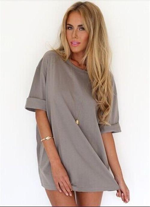8de3eb50ab1 Women Blouse 2015 Summer Dress Shirt Half Sleeve Chiffon Shirts Gray Blouse  Loose Tops Plus Size
