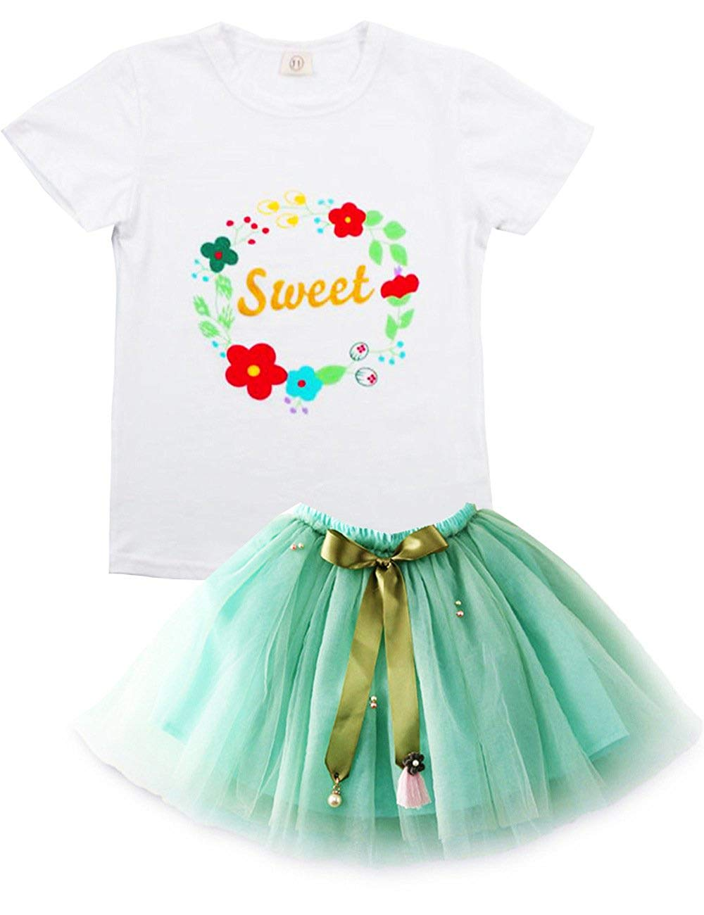 Get Quotations SpringGege Little Girls Watermelon Print Birthday Outfits 2pcs Summer Top And Tulle Skirt Set