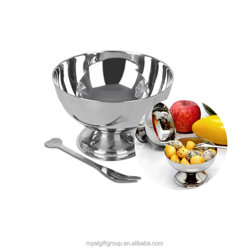 Stainless Steel Ice Cream Cup Dessert Fruit Salad Bowl With A Fork (9,10,11cm)