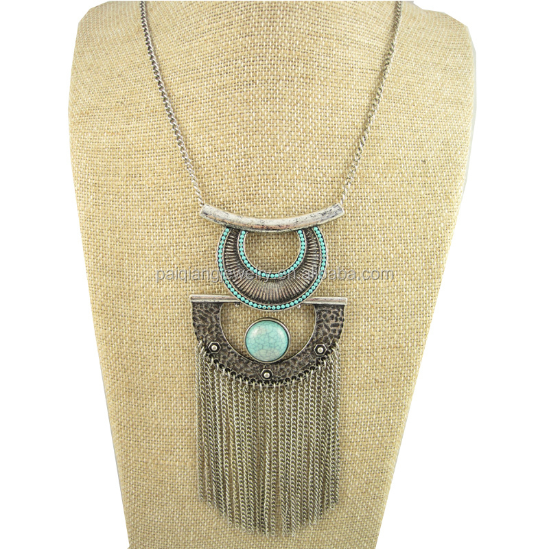 Wholesale fashion elegant vintage silver moon shape turquoise with chains tassel necklace