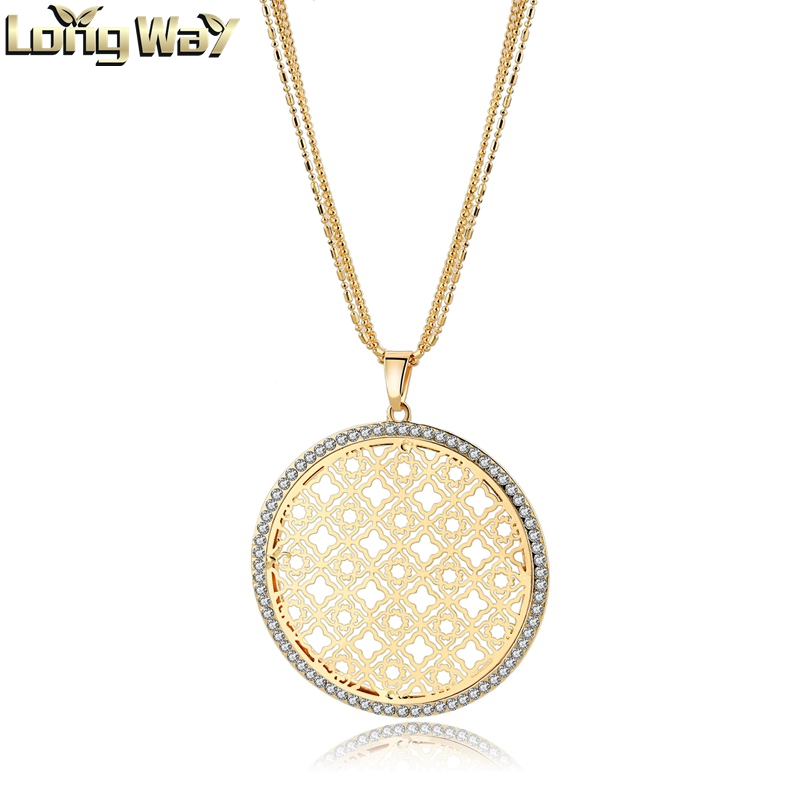 Women Tibetan Necklace Gold Round Lucky totem Pendant Necklaces for Jewelry
