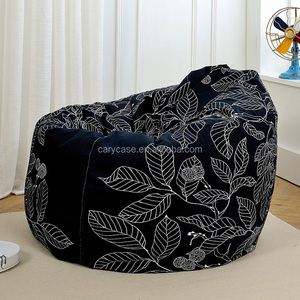 Navy blue Sofa Fabric Living Room Comfortable Large Square Bean Bag Puff Bean Bag