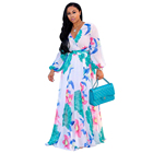 Ethnic new Fashion Women Maxi print dress long high quality Summer Beach Chiffon Party Dress