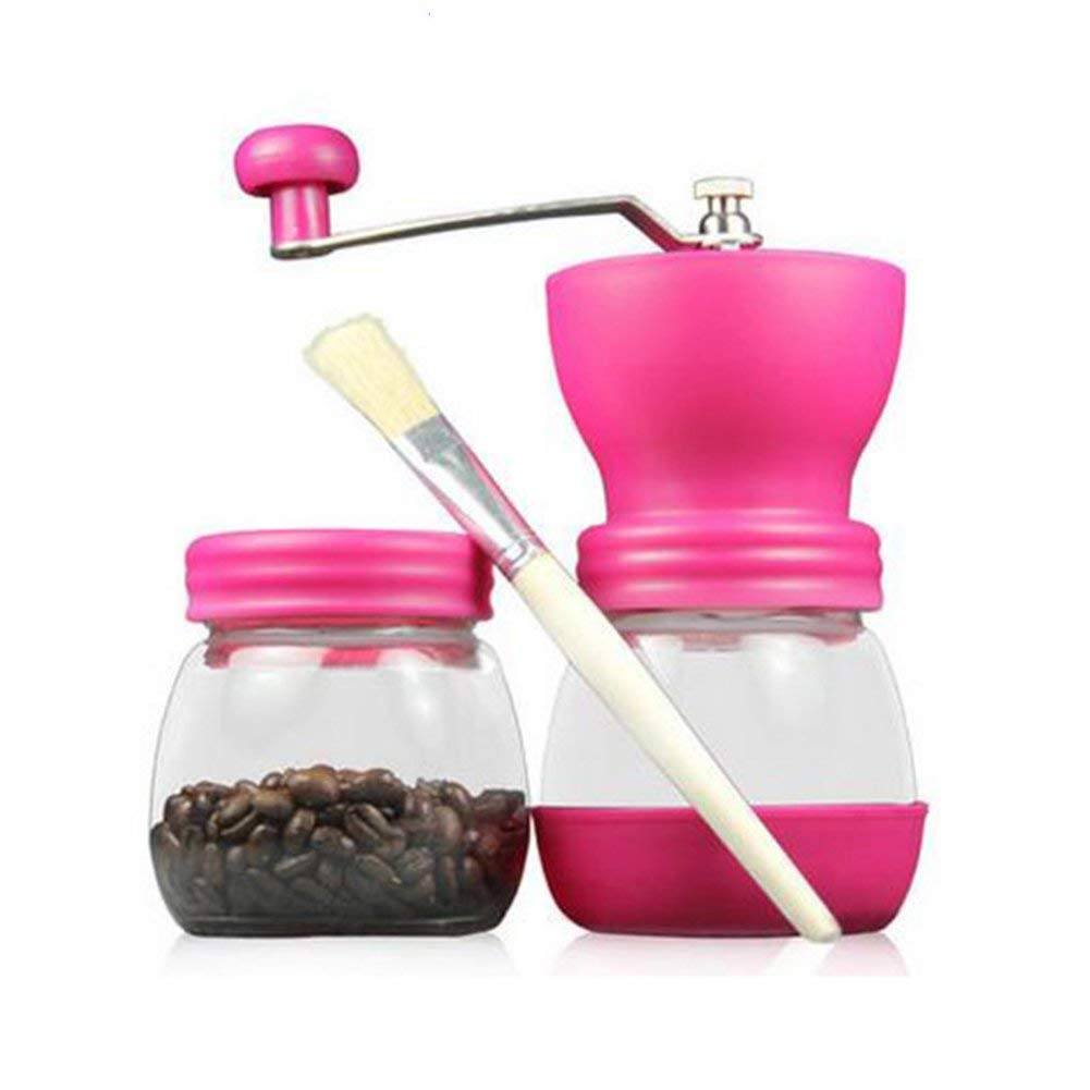 WAYERTY Glass Coffee mill grinder, Manual grinders Household Hand grind Coffee bean grinder Can be washed Send brush-Peach red