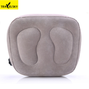 Eco-friendly PVC Flocking inflatable pillow cushion car travel l layer airplane foot rest pillow
