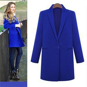 Новое поступление женщин горячая зима мода длинные шерсть женщины твердые отложным воротником одной кнопки толстые теплые элегантный пальто