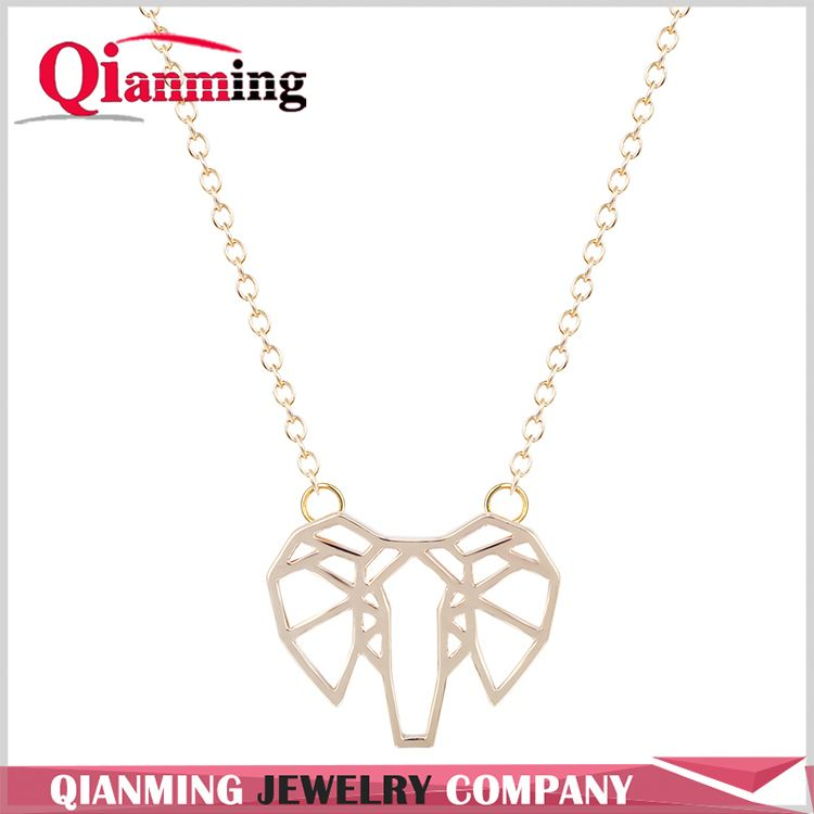 Women Pendant Necklace AFRICAN ELEPHANT FACE OUTLINE SHAPED PENDANT NECKLACE For Girl Gift Necklace Jewely