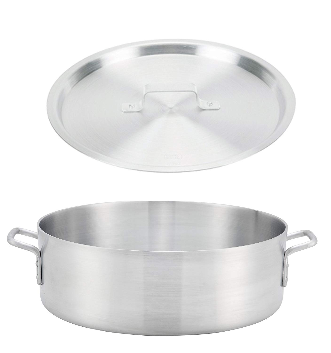 """Winco ALB-18, 18-Quart 15.8"""" x 5.5"""" Standard Heavy Aluminum Brazier Pan with Cover, Heavy-Duty Commercial Grade Braiser Pan with Lid, NSF"""
