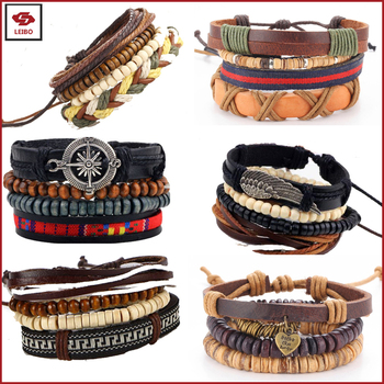 For Wish Supplier Women Rope Beaded Bracelet Men Charms Leather Wristband Stock Available Diy