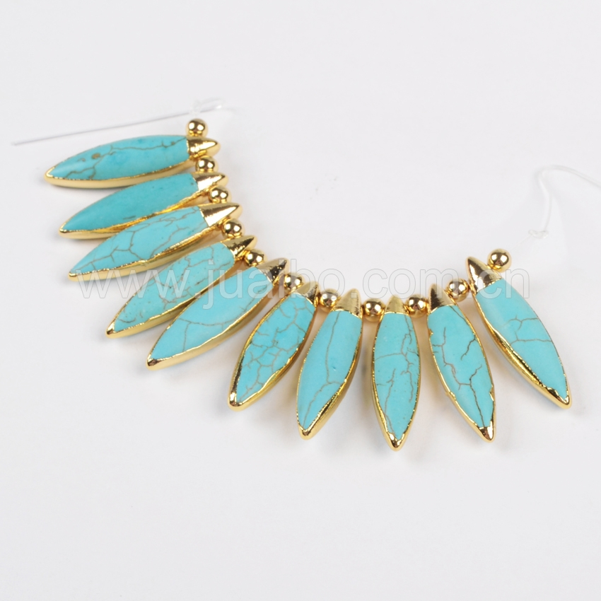 G0894 Gold plating natural howlite turquoise jewelry findings, marquoise turquoise jewellery