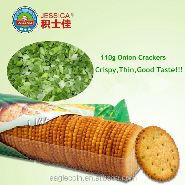 Crispy Round shape good Taste Onion Cracker Biscuits 110g HACCP,QS,ISO,HALAL Biscuits