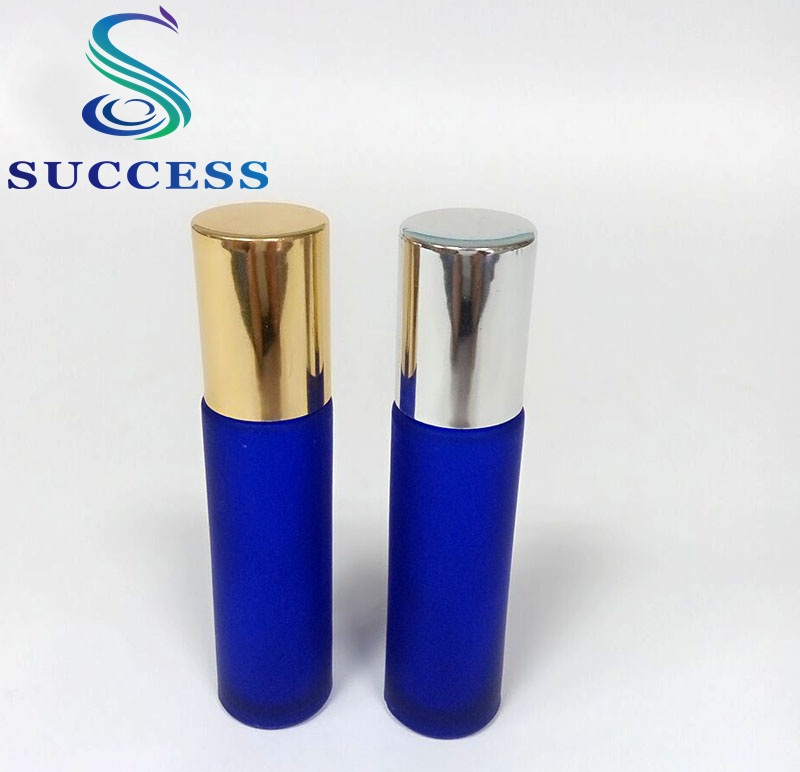 popular factory direct selling Success 10ml small matte blue glass roll on glass bottle with cap for cosmetic packaging