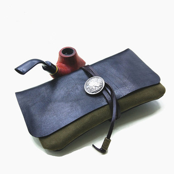 Real Retro Leather Travel Pipe Pouch Case High Quality Leather Tobacco Case Wallet