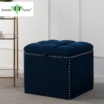 Fabric Upholstery Storage Ottoman With Rivets