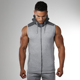 High Quality Sleeveless Men Gym Slim Compression Fitness Casual Hoodies