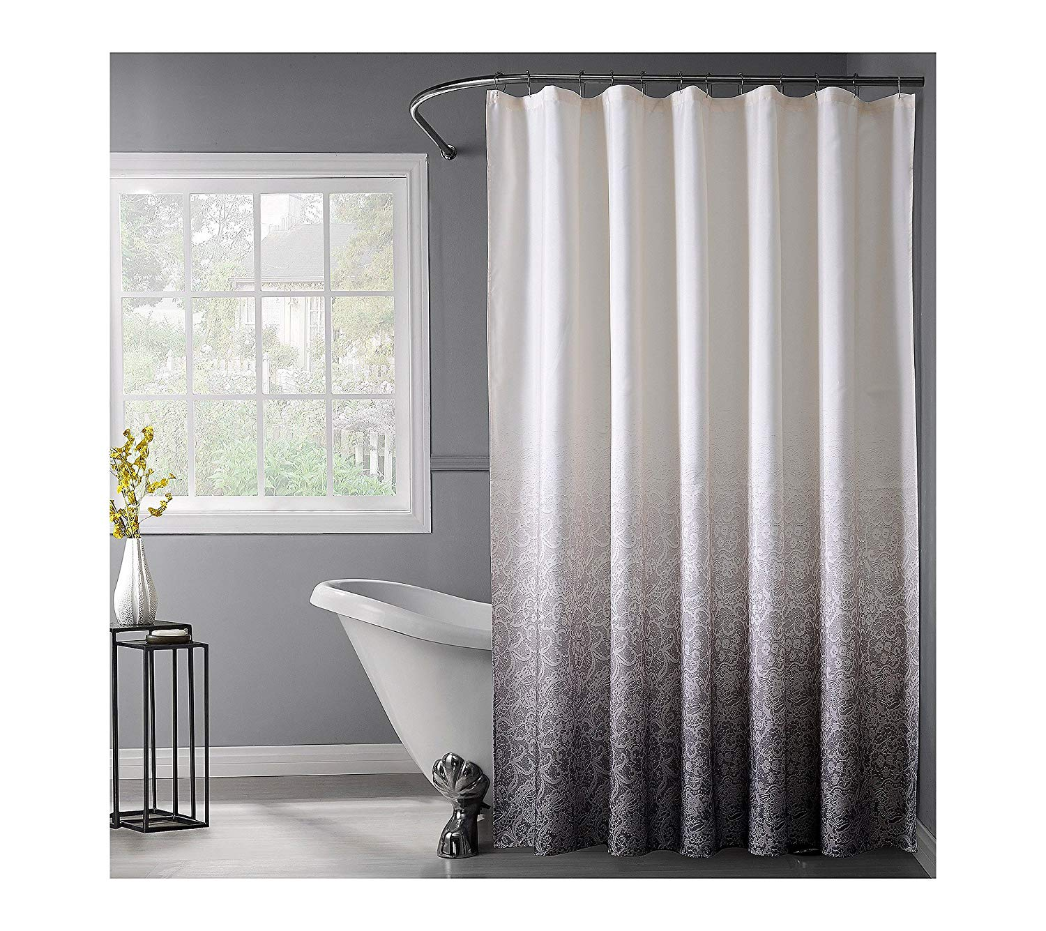 Get Quotations Dainty Home Lace Ombre Shower Curtain Black