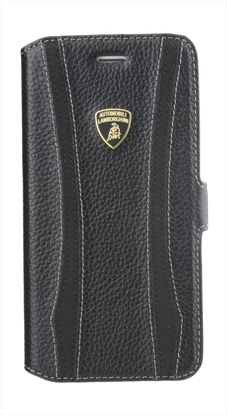 Lamborghini E.T.-D1 Genuine Leather Ultra Slim Side Flip Case w/cardholder for iPhone 6 PLUS- Black