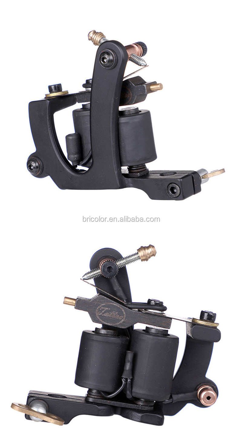 Tattoo Custom Brass Tattoo Machine Gun Handmade 12 Wraps Pure Copper Coils For Shader Coil Tattoo Machine
