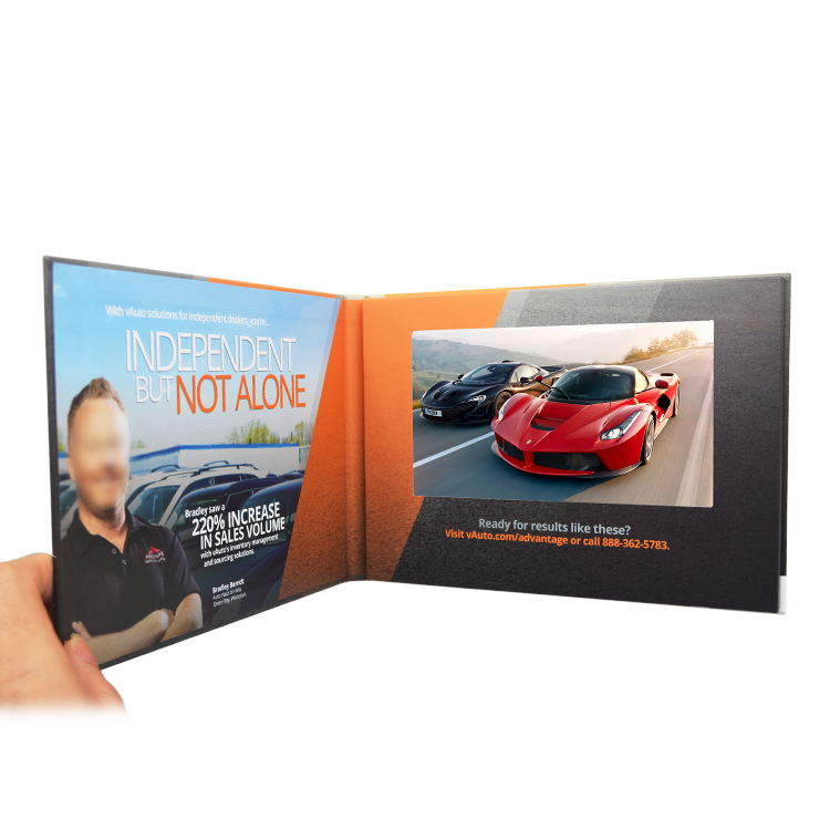 Factory supplier hard cover 7 inch tft panel high solution digital card cardboard brochure with lcd video player