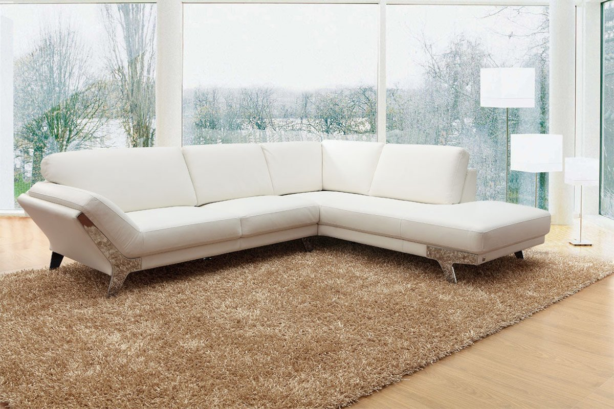 533 - Modern White Italian Leather Sectional Sofa
