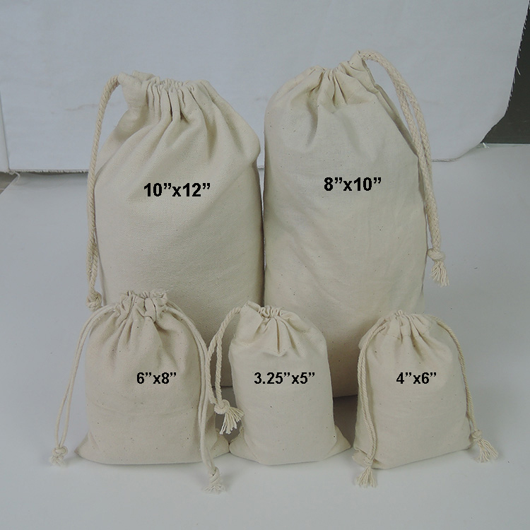 Wholesale 100% cotton eco friendly custom muslin cheap drawstring bags dddbde0da