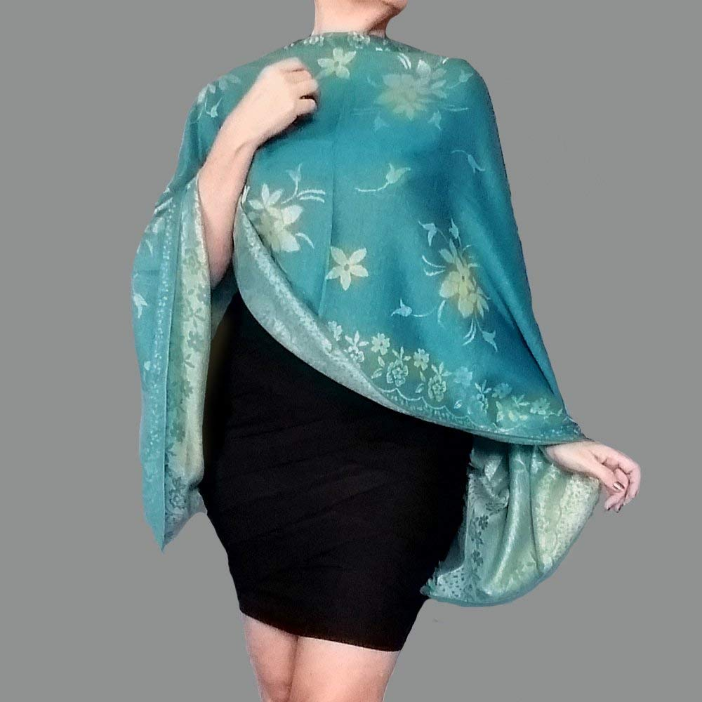 e47e0042d5d Get Quotations · Turquoise Shawl Metallic Gold Wedding Wrap Stole By ZiiCi