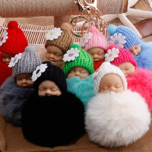 Fashion New Design Doll key Chain for Bag Wallet Key Rex Rabbit Hair Ball Key Chain Cute Sleeping Silicone Baby Pendant Keychain