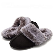Black Slip On Faux Fur Warm Winter Mules Fluffy Suede Indoor Slippers Women